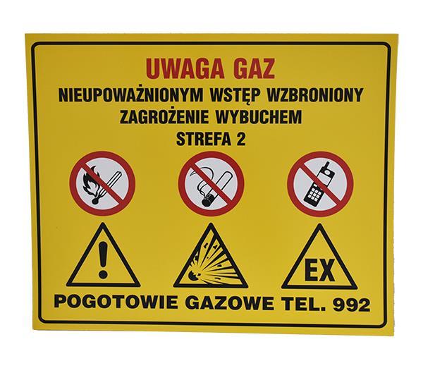 Tabliczka Ostrzegawcza UWAGA GAZ Zagroenie Wybuchem Strefa 2